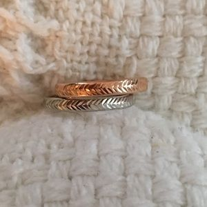 Genuine 14k Rose and White Gold Rings Size 5